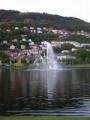 Bergen fountain and hills