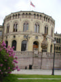 Stortinget with lilacs